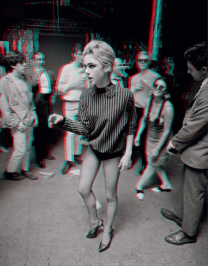 jockohomo:  Actress Edie Sedgwick dances at a party at The Factory. Photograph by Bob Adelman, 1965.