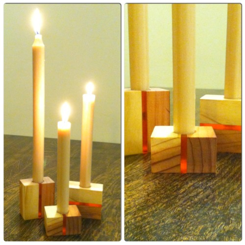 I made these candle holders for my wife. Not sure what the wood is but it is light and two-toned which gives a great contrast with the acrylic stripes.