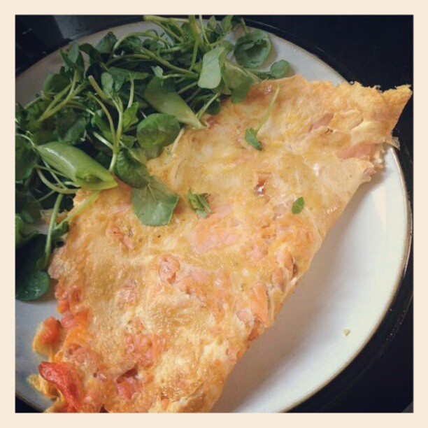 Smoked salmon omlette cooked in coconut oil #health #nutrition #food #foodie #foodporn