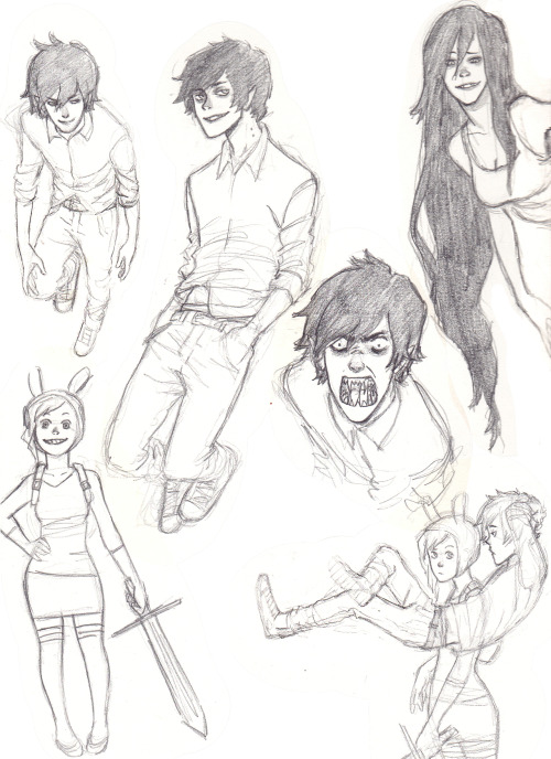 jazzie560-art-blog:  Here's some Marshall lee, and a little Fionna and Marceline as well, from adventure time