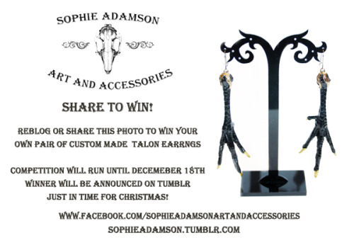 The facebook page has reached 2000 fans :-) So as a thankyou Sophie Adamson Art and Accessories are running a competion until December, just in time for christmas! Reblog this photo Via tumblr or share on facebook for a chance to win Sharing on both will get you an extra entry! Winner will be announced via Tumblr www.facebook.com/SophieAdamsonArtAndAccessories sophieadamson.tumblr.com