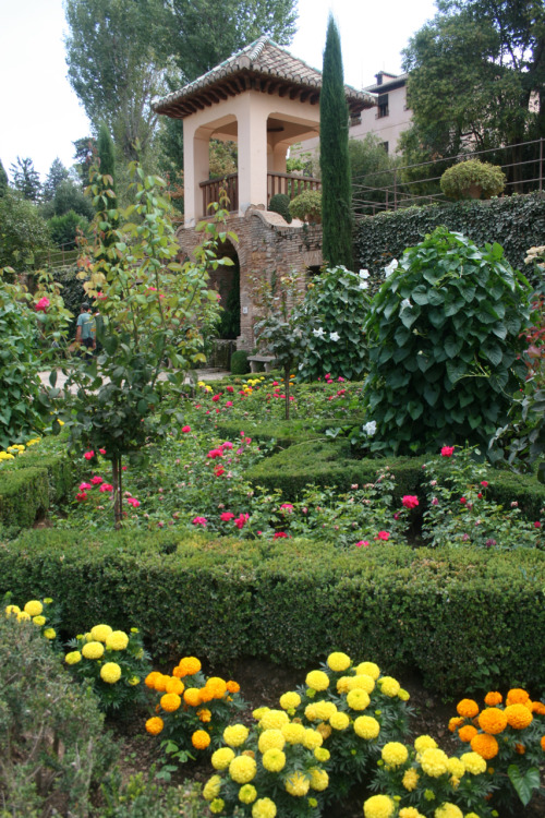 ALHAMBRA GARDENGranada, Spain©Laura Quick There are gardens surrounding the Alhambra, this garden is near the exit. The park (Alameda de la Alhambra), which is overgrown with wildflowers and grass in the spring, was planted by the Moors with roses, oranges and myrtles; its most characteristic feature, however, is the dense wood of English elms brought by the Duke of Wellington in 1812. The park has a multitude of nightingales and is usually filled with the sound of running water from several fountains and cascades.