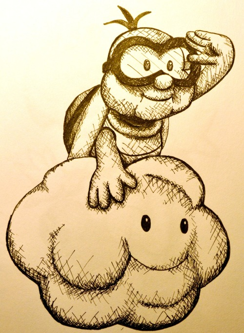 Lakitu! Another pen and ink creation.