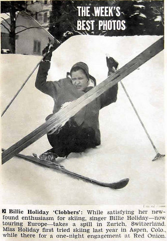 "Billie Holiday skiing in Zurich, Switzerland was ""The Week's Best Photo"" in Jet's February 25, 1954 issue."