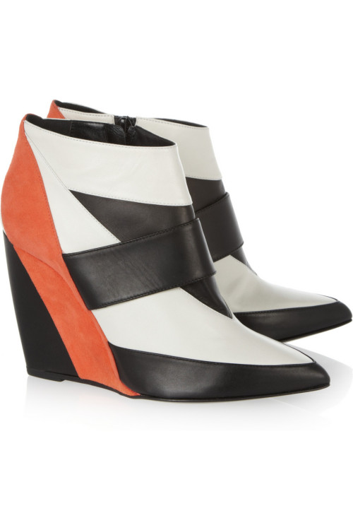 PIERRE HARDY Leather and suede wedge ankle boots