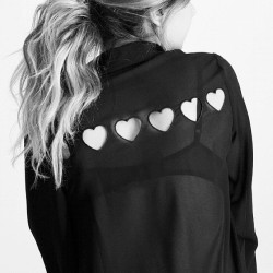http://mickeysgirl.com/new-arrivals/tiny-hearts-cut-out-blouse.html Just got in the cutest sheer top. Tiny Hearts Cutout Blouse - Shop under New Arrivals for awesome goodies ✌ Happy Shopping MickeysGirl.com