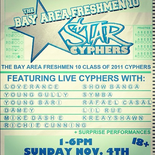 The #BayAreaFreshmen10 Class of 2011 STAR cyphers are today at 1PM! RSVP here for free entry: http://t.co/Cyu7tveb