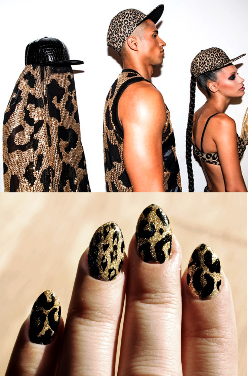 Gold Glitter Leopard Nails inspired by Jeremy Scott SS 2013