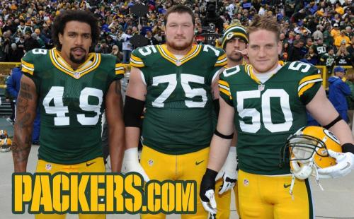 2012 Week 9: Arizona Cardinals Left to right: Rob Francois, Bryan Bulaga, A.J. Hawk