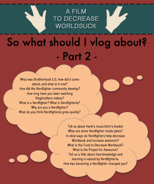 At a loss about what to vlog? Check out this updated list of questions, and sign up to submit a vlog here.
