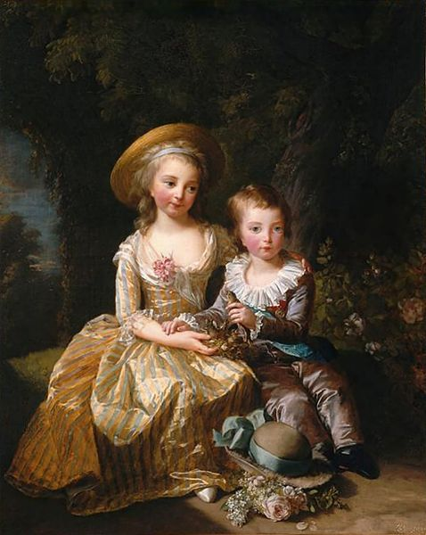 Louis Joseph Xavier François of France and Marie Thérèse Charlotte of France by Louise Élisabeth Vigée Le Brun, 1784 France, Musée National des Châteaux de Versailles et de Trianon Click for a bigger image - Not found at the source because of Joconde's notoriously awful image quality.