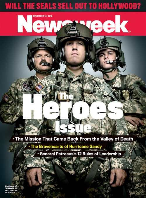 "This week's cover, for our Heroes Issue, features soldiers from the Black Hawk crew of Dust Off 73. who, according to the ArmyTimes back in April 2012, ""spent nearly 12 hours in the air, extracting 14 wounded and one soldier killed in action and flying three critical resupply missions during a three-day operation."""