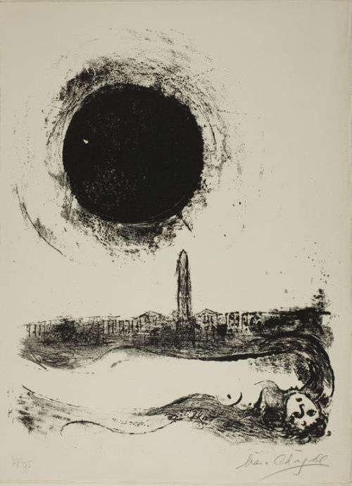 MARC CHAGALL, Black Sun Over Paris   overt, but oh so gorgeous