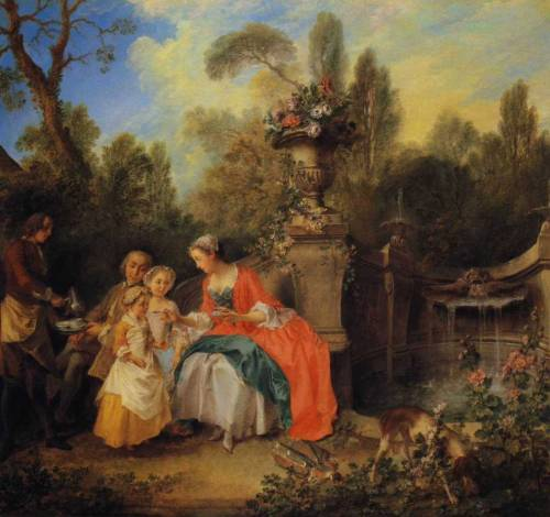 A Lady in a Garden taking Coffee with some Children by Nicolas Lancret, 1742 (probably), The National Gallery (London) Click for a large image  This painting, one of Lancret's most ambitious of the works and often considered his masterpiece, was exhibited at the Salon of 1742. The subject is a pastoral idyll in contemporary dress. It may have been intended as a portrait of a particular family taking its ease in the kind of idealised park setting popularised by prints after the paintings of Watteau. Informality is the keynote of both the landscape and the figures, who occupy the left part of the composition. A woman, presumably the mother, offers a spoonful of coffee to the younger child, observed by a man (presumably the father) who holds out a tray to a servant holding a silver coffee pot. The traditional title of the painting, 'The Cup of Chocolate' is, therefore, a misnomer. Behind the mother is the focal point of the setting, a stone vase filled with roses on an elaborate pedestal, which forms the left pier of the fountain basin to the right. The informality of the scene is underlined by the doll lying on the ground beside the fountain and the dog on the right rooting among the hollyhocks.