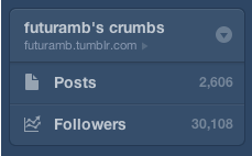 I have now more than 30.000 followers on futuramb.tumblr.com! Today I realized that the number of followers to this tumblr blog passed the 30.000 mark! Amazing!! Thank you all for following me!
