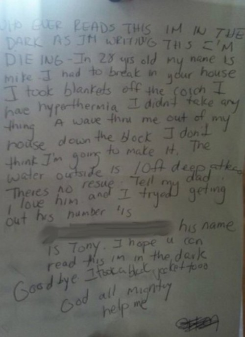 "Note found after Hurricane Sandy: ""I don't think I'm gonna make it"" And yes, it turns out that Mike did make it."