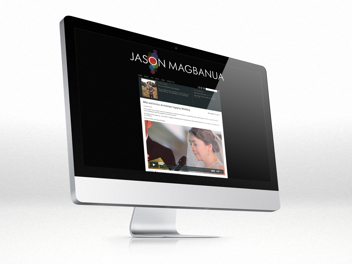 Jason Magbanua Logo and Website How will you brand a rock star wedding videographer? Easy. All his videos show passion, quality and a unique eye for capturing one of life's greatest moments. Take those and spin them around. Smooth circular bokehs are only achievable through high quality lenses and knowledge in lighting. The colours add quirkiness, which is what Jason Magbanua is also famously known for.