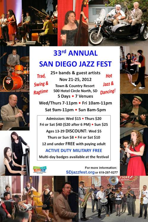EUPHORIA BRASS BAND TO PERFORM AT THE 33RD ANNUAL SAN DIEGO JAZZ FESTIVAL. THANKSGIVING WEEKEND. EUPHORIA SCHEDULED PERFORMANCE TIMES: FRIDAY 11/23: 10:00 -10:20 AM / 10:30 - 11:30 AM / 8:00 - 9:00 PM SATURDAY 11/24: 9:00 - 9:20 AM / 9:30 - 10:30 AM COME ON OUT AND GET EUPHORIC!!!