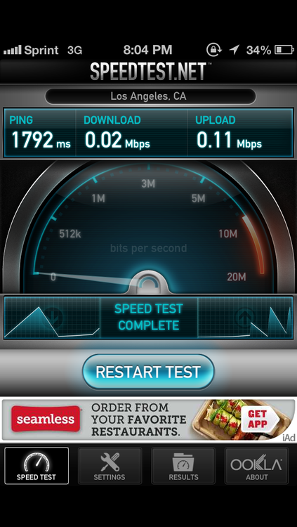 Sprint iPhone 5 speedtest showing full bars but close to no data up/down