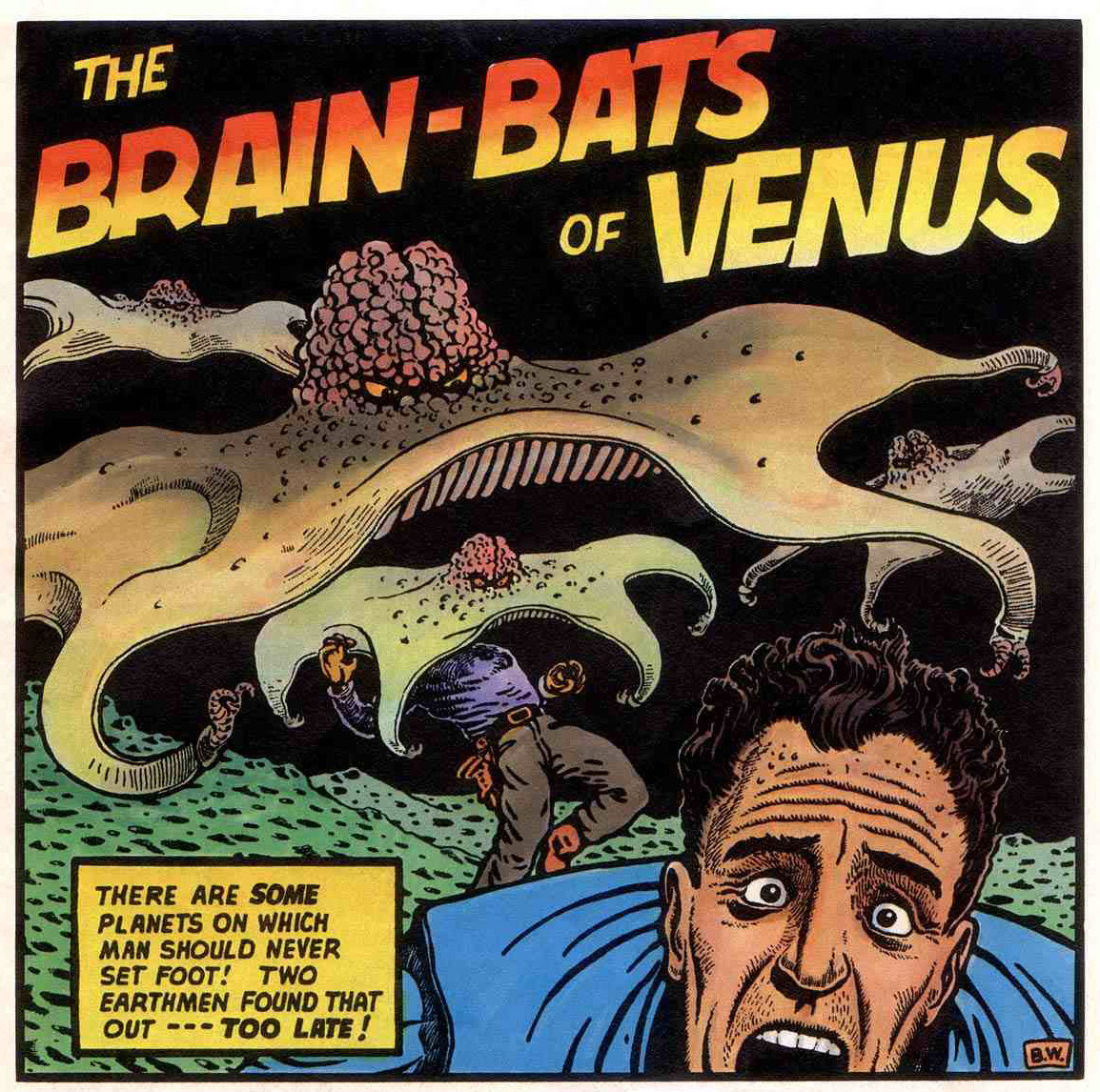 thebristolboard:  Here's a gallery of splash panels from Basil Wolverton's science-fiction tales. These recolored versions are from the three-issue reprint series, Far Out Weird Ass Tales of the Future.