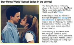 fuckyeah1990s:  This is the best news I've seen all year, a Boy Meets World sequel series! I'M SO EXCITED. OMG THE FEELS. Tell me what you guys think, would YOU watch a Boy Meets World sequel series? Who would you want to return to the show besides Cory & Topanga?