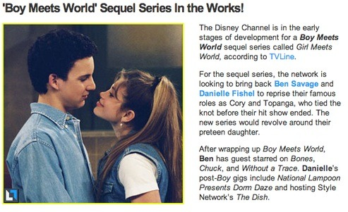 fuckyeah1990s:  A Boy Meets World sequel series! I'M SO EXCITED. OMG THE FEELS. Tell me what you guys think, would YOU watch a Boy Meets World sequel series? Who would you want to return to the show besides Cory & Topanga?