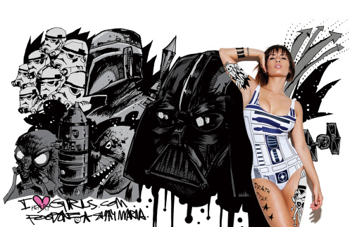 iheartgirlsdotcom:  Awesome Star Wars collaboration between artist Jim Mahfood, Shay Maria and Cherie Roberts for iheartgirls.com. One-piece by Black Milk Clothing.
