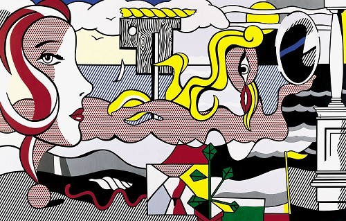museumuesum:  Roy Lichtenstein Figures in Landscape, 1977 Oil and Magna on canvas,107 x 167 1/2 inches; 271.8 x 425.5 cm
