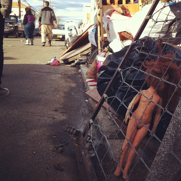 Every post-apocalyptic landscape needs a sad, muddy doll tangled in a mess of metal. #ny #nyc #sandy #rockaways #bike4sandy #affinityride