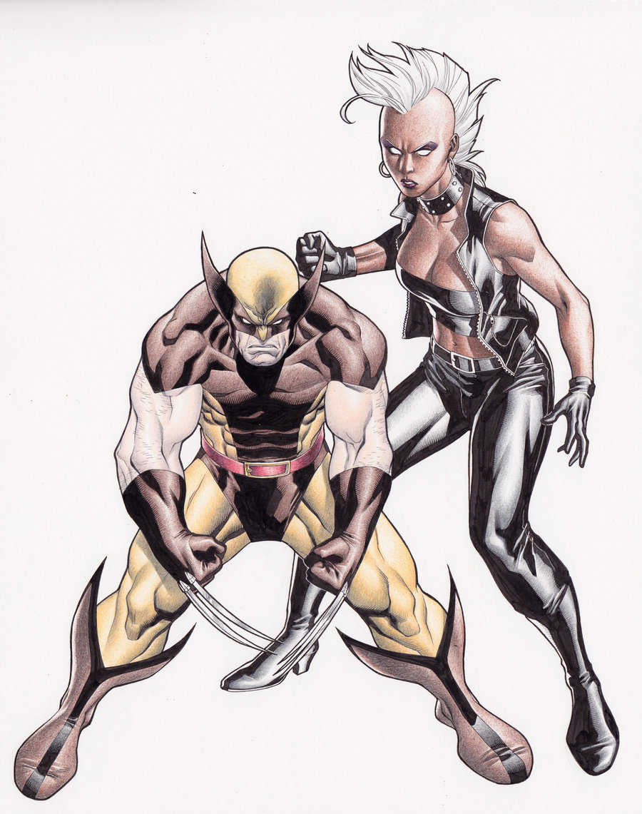 ororomunroe:  Storm and Wolverine(now in color) by Clayton Henry