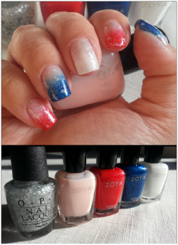 Nails for Election Day! Or July 4th. Or any other patriotic holiday, really!  Base: Zoya Laurie Color: Zoya America, Song, Purity Top: OPI Pirouette My Whistle Technique: Sponging