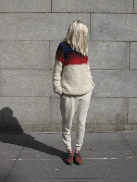 barrybonds:  calivintage:  Maiami Gorky Park Pullover Sweater and Marios Joggy Wool Trouser by No.6 Daily.  she look comfy