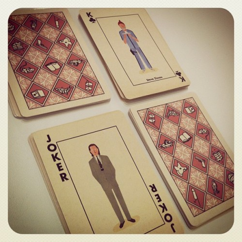 Our new playing card decks have arrived! Designed by superstar artist Max Dalton, these Wes Anderson-inspired playing cards feature the first four Anderson movies depicted in Dalton's fun and whimsical style. There are only 150 decks made, these along with all our new apparel will be releasing sometime later this week! Stay tuned! http://www.spoke-art.com