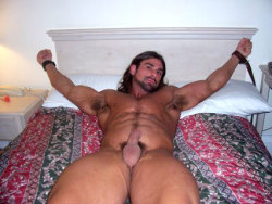 faggland:  He'd gotten off work, headed to the motel, stripped and tied himself to the headboard waiting for his girl to arrive. Imagine his shock when a group of burly motorcycle riders came in instead