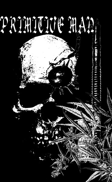 iwanttowashmybrain:  design I made for a back patch/shirt for PRIMITIVE MAN.   give us a listen.  http://primitivemandoom.bandcamp.com