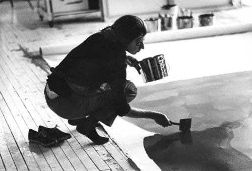 "Helen Frankenthaler, beauty at work.  For a long time — probably too long — not enough people have thought about the far-reaching accomplishments of Helen Frankenthaler, foremost inventor in the fifties of what is variously called American Color Field painting and post-painterly abstraction. Whatever you call this short-lived movement, Frankenthaler used it to throw up an artistic bridge allowing artists to cross the blood-and-thunder-encumbered cosmos of Abstract Expressionism into a new world of Minimalism. Painter Morris Louis called her ""a bridge between Pollock and what was possible.""  http://www.vulture.com/2011/12/jerry-saltz-on-helen-frankenthaler-1928-2011.html"