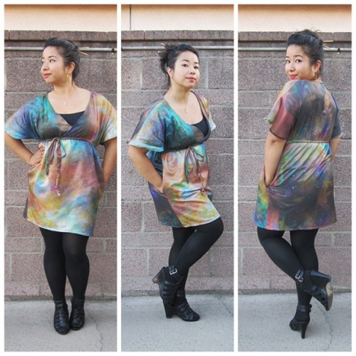Geek Chic - Space Kimono Dress (Orion Nebula) If you are like me and every other dork, you love space. You may also be obsessed with science fiction. A few months ago, for my birthday, I splurged on some custom cotton silk fabric printed with an image of the Orion Nebula from Spoonflower. I straight-up stole this photo from the NASA website, did a little bit of manipulation and made a seamless pattern out of it. I finally did something with it and sewed up this kimono dress. I also added pockets, because, duh. I think it's a good way to express your obsession without being too literal with your chosen space-related fandom. You can get the fabric here: http://www.spoonflower.com/fabric/1226781 . (Taken with my Canon Powershot SD780 IS) #fashion #sewing #diy #space #me #ootd