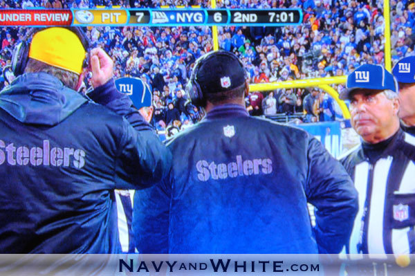 Screenshot from Sunday's NY Giants v. Pittsburgh Steelers game.