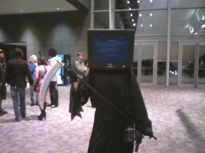 This is the most amazing costume evar.  BLUE SCREEN OF DEATH!