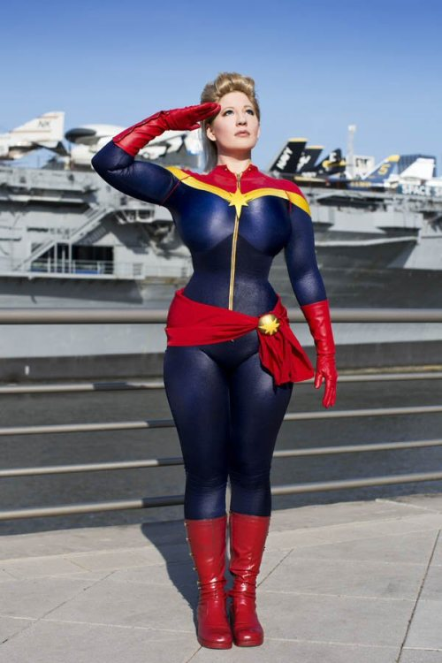 This one's for you, NYC. Captain Marvel costume made by me, debuted at NYCC 2012. The photo is by the ever amazing Anna Fischer. I didn't get to see her at DragonCon (it was so crazy this year!) so it was nice to escape the craziness of NYCC to take the walk with her down to the Intrepid. We chatted and she even got me a squished penny. She rocks. <3 Also, if you haven't picked up CAPTAIN MARVEL yet, why not?! It's a great series. I'm grateful to have a strong female lead in her own solo series.