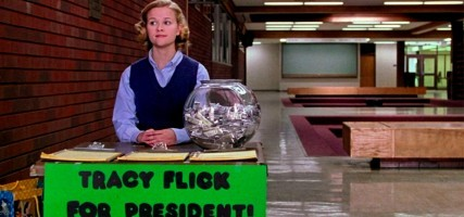 #28: Election Alexander Payne spares no one in this needle-sharp high-school election satire—not Matthew Broderick's overinvested teacher, not Reese Witherspoon's overachieving class presidential candidate, not their cohorts and classmates, all of whom act out of self-interest disguised as being for the benefit of others. Everyone thinks they're the hero of the story, but the only nice guy is the one who's too dumb to know any better. Witherspoon has never been better than she is in the role of Tracy Flick, who's all scary, steely ambition barely concealed by her chipper persona, and Broderick keeps pace with her as a man who's acting in spite while telling himself it's for some kind of greater good. But it's Jessica Campbell who gets the movie's best scene in her rousing campaign speech on behalf of apathy. Choosing not to participate has never looked so appealing. (via The 50 best films of the '90s (2 of 3) | Film | Best of | The A.V. Club)