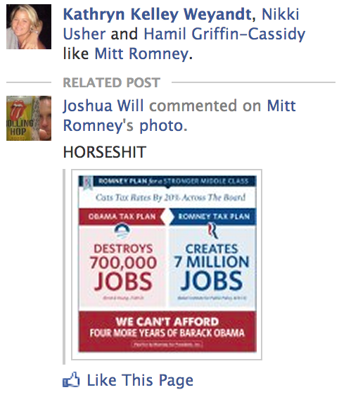 Looks like Mitt Romney is getting precisely what he's paying for with Facebook's social ads.