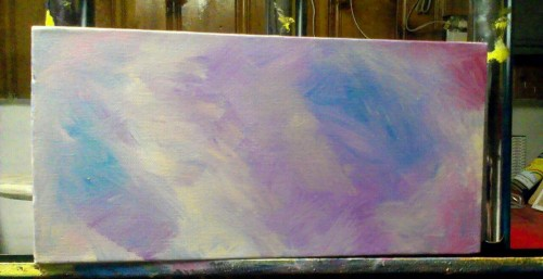 New painting in progress. Going with a smaller size this time, its 6 x12 inches.  edit: excuse not so good photo- taken with phone, and I did not edit on Photoshop prior to uploading.