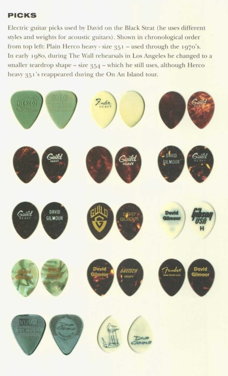 Electric guitar picks used by David Gilmour on the Black Strat.