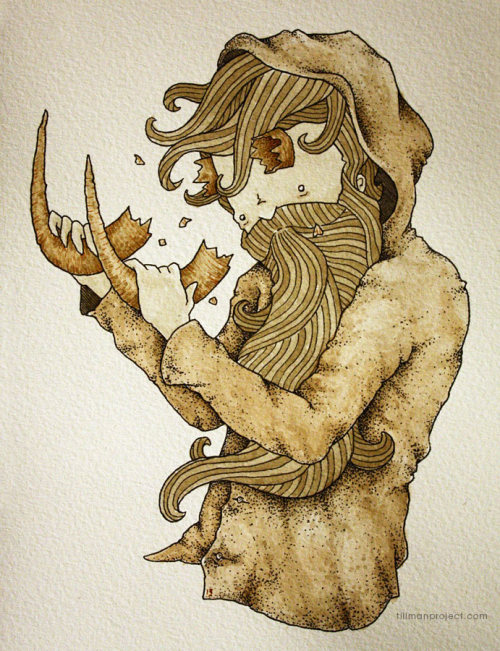 """black sheep boy"" (pen & watercolor, hellboy/beardman mashup)"