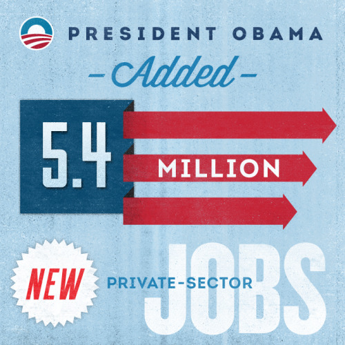 Before President Obama took office, the economy was losing 800,000 jobs a month. Now, we've seen 32 consecutive months of job growth and 5.4 million new private sector jobs.