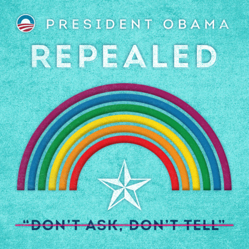 "President Obama repealed ""Don't Ask, Don't Tell"" so that gay and lesbian servicemembers are no longer forced to lie about who they are to serve the country they love."