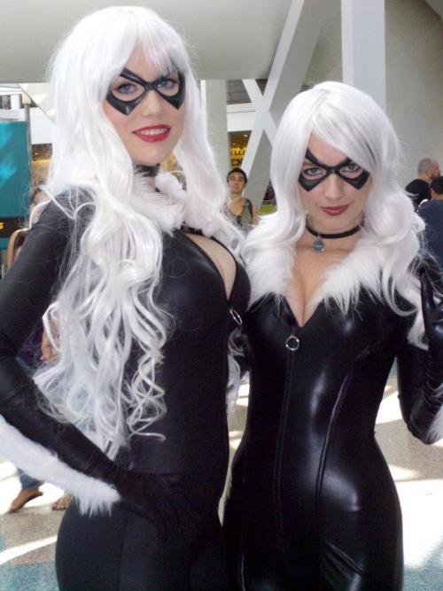 Phoenix of the Birds of 'Play as Black Cat (on the right) Costume by Castle Corsetry