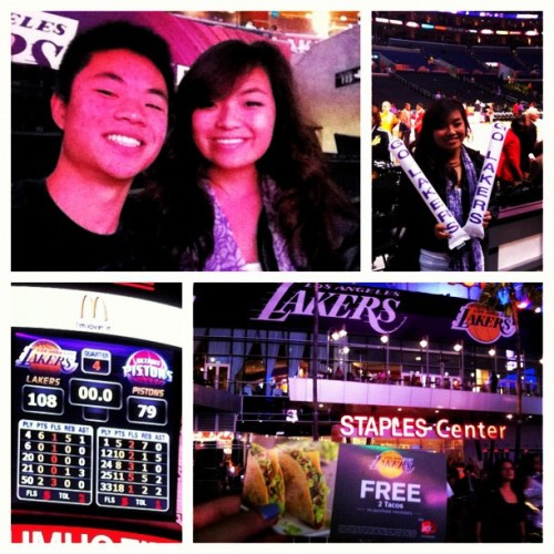 Took my lil bro out to the lakers game tonight #lakers #theyfinallywon #game3 #freetacos #staplescenter 