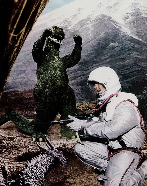 monsterman:   Destroy All Monsters (1968)   That's a really big astronaut.